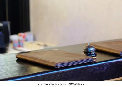 Interior of a cafe with a menu