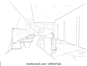 Line Drawing Of Your House : Outline sketch drawing interior space office stock illustration