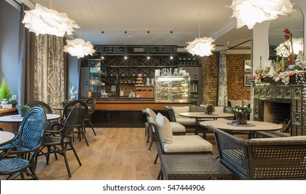 Interior of caffe restaurant.   Modern design.