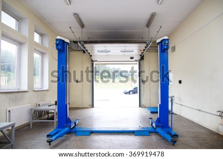 Interior car repair garage car lift stock photo edit now
