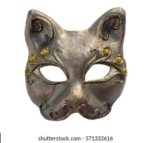 Interior and carnaval mask of cat, isolated on white. Papier-mache with acrylic paints, plaster, lacquer