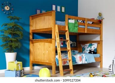 Interior of children room with bunk bed