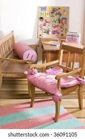 interior of children room in pink tone