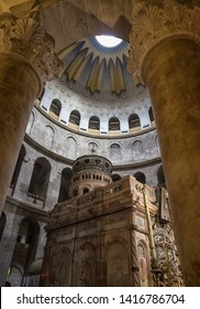 Interior of Church of the Holy Sepulchre, the greatest Christian shrine in the world in Jerusalem, Israel