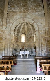 interior of Church of Saint Mary of Eunate, Road to Santiago de Compostela, Navarre, Spain
