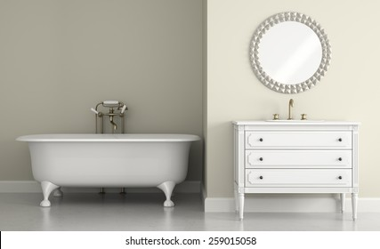 Interior of classic bathroom with round mirror 3D rendering