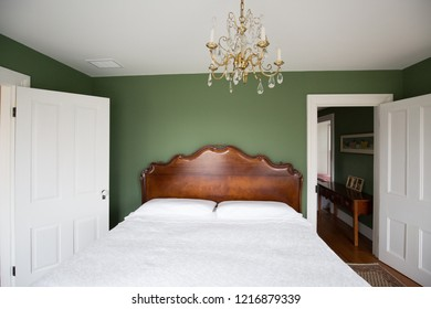 interior of a classic Georgian Home.  Bedroom and chandelier