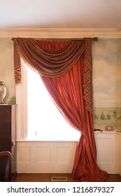 interior of a classic Georgian Home. Reproduction of Georgian style curtains.