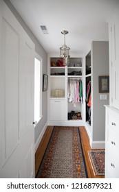 interior of a classic Georgian Home.  A walk in closet.