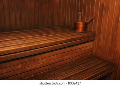 Interior of classic russian wooden sauna
