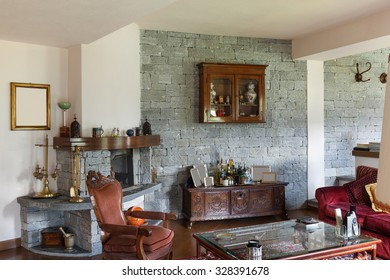 interior of a classical house furnished, wide living room