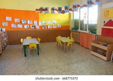 interior of a classroom without children