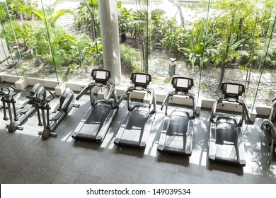 Interior of a club gym with a greenery in front.