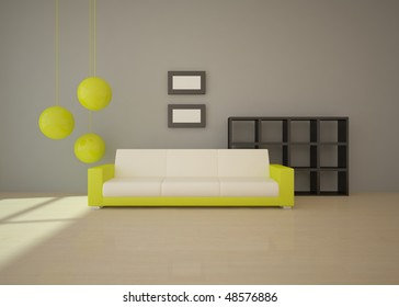 interior concept with green furniture