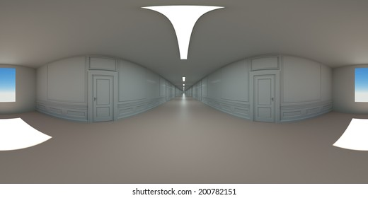 The interior concept shot panoramic camera, 3d render