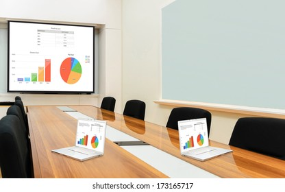 Interior conference room, meeting room, boardroom, Classroom, Office, Business data information on projector board and two laptop.