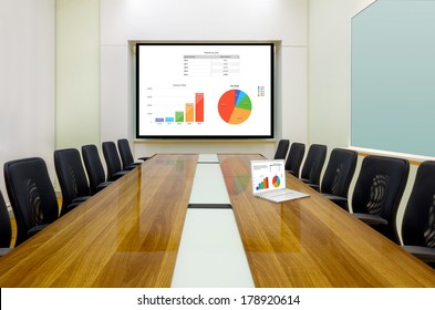 Interior conference room, meeting room, boardroom, Classroom, Office, Business data information on projector board and laptop.