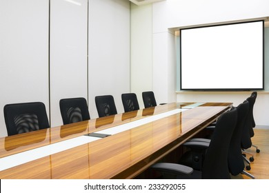 Interior conference room, meeting room, boardroom, Classroom, Office, with white projector board.