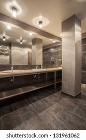 interior of contemporary grey bathroom