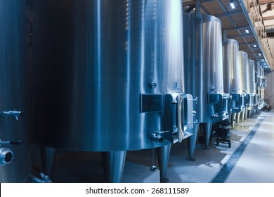 interior of contemporary winery factory