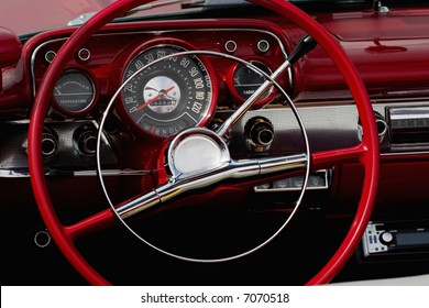 The interior in a convertible.