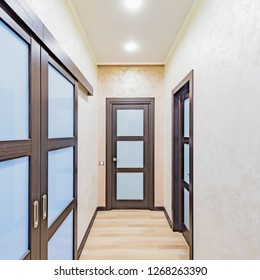 Interior of the corridor in the luxury rich apartments.