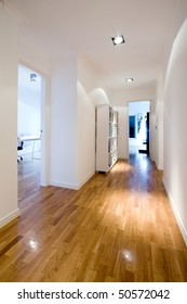interior corridor with wood floor and furniture at a modern house