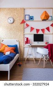 Interior of cozy bedroom for young person