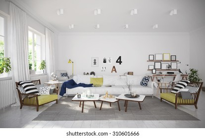Interior of cozy vacation house (3 D render using 3 d s Max)