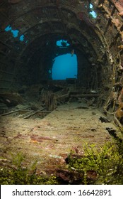 Interior of a crashed World War II Betty Bomber,  underwater in Micronesia.