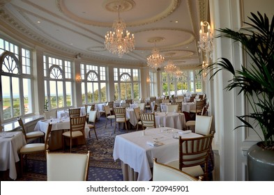 Interior of the Crystal Ballroom at Trump Turnberry Hotel, popular luxury golf and wedding venue. Turnberry, Maybole, Ayrshire, Scotland UK. September 2017