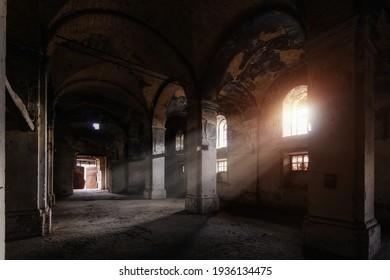 Interior of dark creepy abandoned lutheran church of the Virgin Mary.