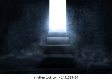 Interior dark room with dark concentrate floor with fog and mist. one way out up the stair