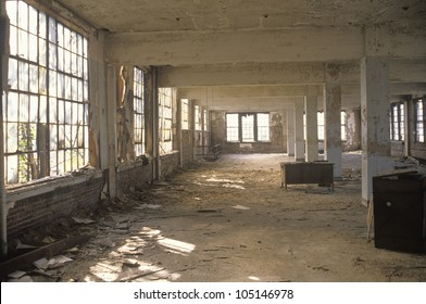 Interior of decaying abandoned factory, East St. Louis, Missouri