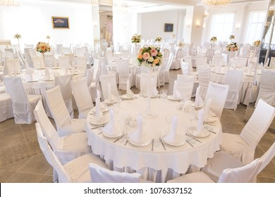 interior decor, design, wedding concept. there is a hall for celebrating different holidays, it is all decorated in light coloures, almost all furnityre in the hall has white coloure