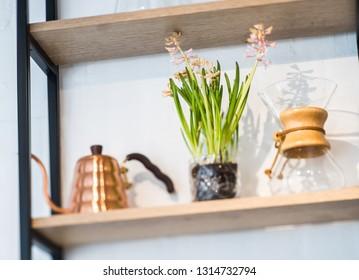 Interior decor, kitchen accessories, kettle, bottles.