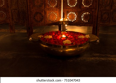 Interior decoration of an Ayurveda Spa in traditional Indian style