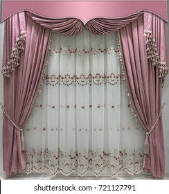 Interior decoration in gentle pink tones. Soft velvet curtains with fringe along the edge, combined pelmet and light tulle with embroidery.