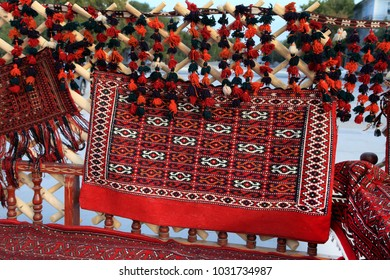 Interior decoration of Turkmenistan in a yurt and outside.