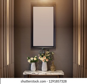 interior decoration wall with flower on ceramic vase and photo frame on wall in warm light concept. Luxuary decoration desing in living room