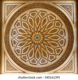 The interior of decorative ceiling-mounted light fixture taken on February 9, 2016 in The Nabawi Mosque, Madinah,Saudi Arabia.