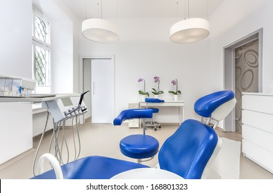 Interior of a dentist room and seat