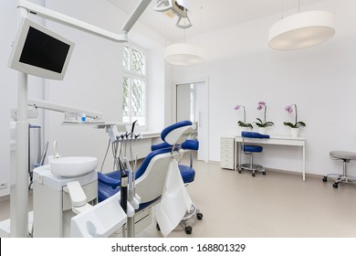 Interior of a dentist room with seat