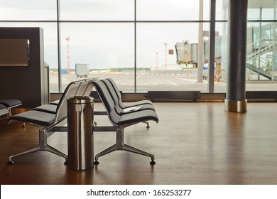 interior of departure lounge at the airport