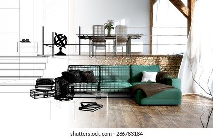Interior design - 3D render and draft of a living room