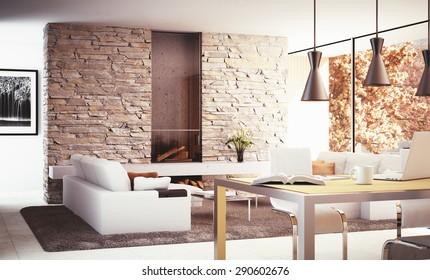 Interior design - 3D render of a modern living room