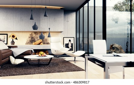 Interior Design - 3D render of a Modern Living room