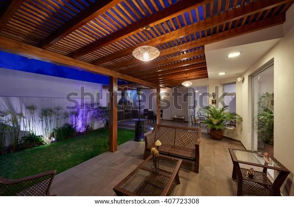 Foto De Stock Sobre Diseño Interior Bonita Terraza Salón