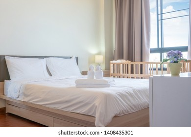 Interior design in bedroom of with Baby mattress