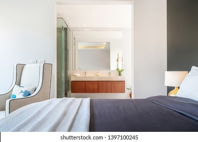 interior design bedroom with bathroom